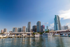 View of Miami Marina and Bayside Marketplace. MIAMI - August 8 : View of Miami Marina and Bayside Marketplace in August 8, 2014.  The marina was completely Stock Photos