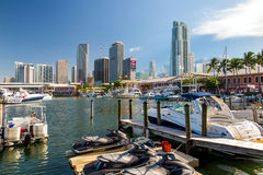 View of Miami Marina and Bayside Marketplace. MIAMI - August 8 : View of Miami Marina and Bayside Marketplace in August 8, 2014.  The marina was completely Stock Photo