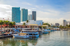 View of Miami Marina and Bayside Marketplace. MIAMI - August 8 : View of Miami Marina and Bayside Marketplace in August 8, 2014.  The marina was completely Royalty Free Stock Photo