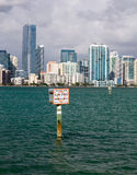 View of Miami Skyline with Manatee sign Royalty Free Stock Images