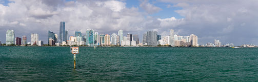 View of Miami Skyline with Manatee sign Royalty Free Stock Photo