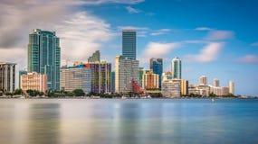 View of the Miami Skyline from Virginia Key, Miami, Florida. Stock Photos