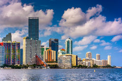 View of the Miami Skyline from Virginia Key, Miami, Florida. Stock Image