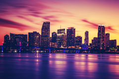 View of Miami at sunset, special photographic processing Stock Images