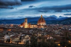 View from Michaelangelo Plaza. View of Duomo from Michaelangelo Plaza in Florence, Italy Stock Photo