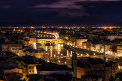 View from Michaelangelo Plaza. View of Vecchio bridge from Michaelangelo Plaza in Florence, Italy. taken at night Stock Photos