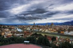View from Michaelangelo Plaza. View of Vecchio bridge and Duomo from Michaelangelo Plaza in Florence, Italy Royalty Free Stock Photos