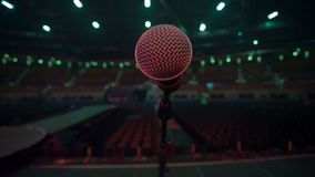 View of Microphone from the stage to an empty auditorium before a concert stock video footage