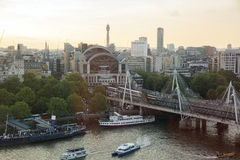 View from the middle air from London Eye on the London Architecture. The horizontal image have a view of Hungerford Bridge and Golden Jubilee Bridge of London Stock Images