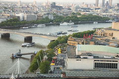 View from the middle air from London Eye on the London Architecture. From left side to the right on the image is river Thames.  Waterloo Bridge from left to Stock Image
