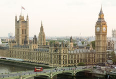 View from the middle level of Big Ben in London - City of Westminster. Great Bell of the clock at the north end of the Palace of Westminster. Elizabeth Tower Royalty Free Stock Photo