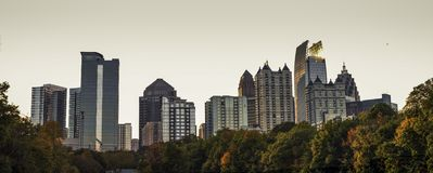 A view of the midtown Atlanta skyline from the nostalgic Piedmont Park. stock photography