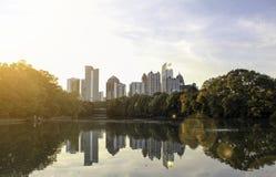 A Midtown Atlanta View from Piedmont Park. A view of the midtown Atlanta skyline from the nostalgic Piedmont Park royalty free stock photo