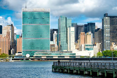 View of the midtown Manhattan skyline including the United Nations building Royalty Free Stock Photography