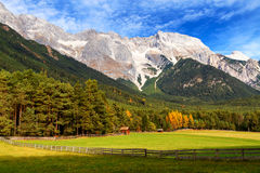 View of Mieminger Plateau with high mountain range in the background, Austrian landscape, Tyrol Stock Photography