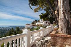 View of the Mijas city in Spain. Mijas Pueblo architecture full of white houses built on the mountainside, province Andalusia in Spain Stock Photography