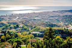View from the Mijas village to Fuengirola town Royalty Free Stock Photos