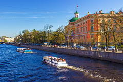 View of the Mikhailovsky Castle. Embankment of the river Fontank Royalty Free Stock Image