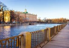 View of the Mikhailovsky Castle. Embankment of the river Fontanka. Saint Petersburg. Russia Stock Photography