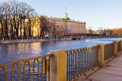 View of the Mikhailovsky Castle. Embankment of the river Fontanka. Saint Petersburg. Russia Royalty Free Stock Photo