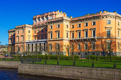 View of the Mikhailovsky Castle. Embankment of the river Moyka. Stock Photography