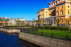 View of the Mikhailovsky Castle. Embankment of the river Moyka. Saint Petersburg. Russia Stock Image