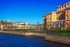 View of the Mikhailovsky Castle. Embankment of the river Moyka. Saint Petersburg. Russia Stock Images