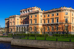 View of the Mikhailovsky Castle. Embankment of the river Moyka. Saint Petersburg. Russia Stock Photos