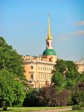 View of Mikhailovsky Palace (Engineer Castle) from  the field of Mars in Saint-Petersburg, Russia Stock Photography