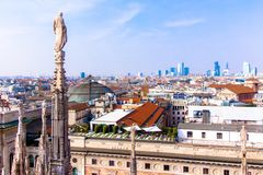 View of Milan from the the Duomo Stock Photography