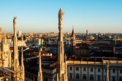 View of Milan from the roof of the Duomo. View from the roof of the Cathedral Stock Photos