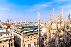 View of Milan from the the Duomo Royalty Free Stock Photos