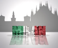 View of Milan. Word Milan with national flag of italy near skyline silhouette Stock Photos