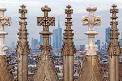 View of Milano financial district and statues of Duomo of Milan Stock Photos