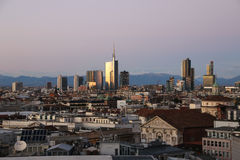 View of Milans  business district from Duomo di Milano. Royalty Free Stock Image