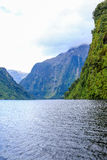 View of Milford Sound fiord, Te Anau, New Zealand. Stock Photography