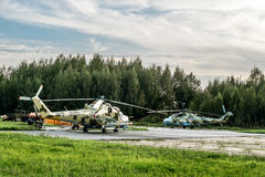 View military helicopters at the airfield in the village of Gore Stock Image