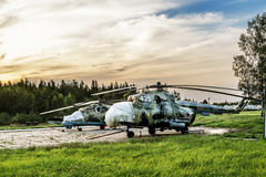 View military helicopters at the airfield in the village of Gore Royalty Free Stock Photos