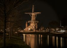 View at the Mill ` De valk `on the Rijnsburgersingel royalty free stock photo