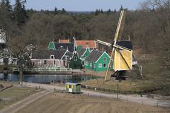 View from the mill at the Zaanse Foruyn region and the mill in Dutch Open Air Museum. In Arnhem Stock Photo