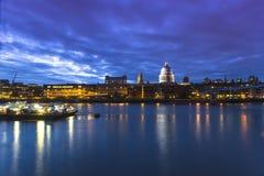 View at Millennium bridge and London skyline. At dask,UK Stock Image