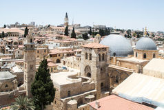 View of the  Minaret of the Mosque Omar and Church of the Holy Sepulchre from the Corner tower of the Evangelical Lutheran Church Stock Images