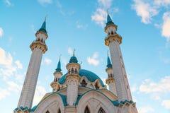 View of the minarets mosque Kul-Sharif at sunset. Russia, Tatarstan Stock Photos