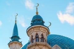 View of the minarets mosque Kul-Sharif at sunset. Russia, Tatarstan Stock Image