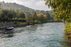 View of Mincio river from Borghetto, Verona, Italy. Royalty Free Stock Images