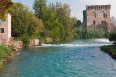 View of Mincio river from Borghetto, Verona, Italy. Stock Image