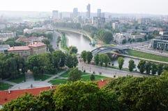View of Mindaugas Bridge, Vilnius, Lithuania stock photos