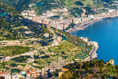 View of Minori and Maiori towns on the Amalfi Coast Stock Photo