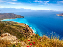 View of Mirabello Bay, Lassithi, Crete. View of Mirabello Bay and Tholos beach, Lassithi, Crete Royalty Free Stock Images