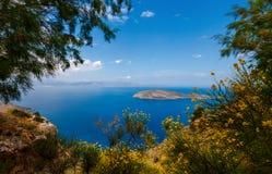 View of Mirabello Bay and Pseira Island, Sitia, Crete. Greece Royalty Free Stock Photos